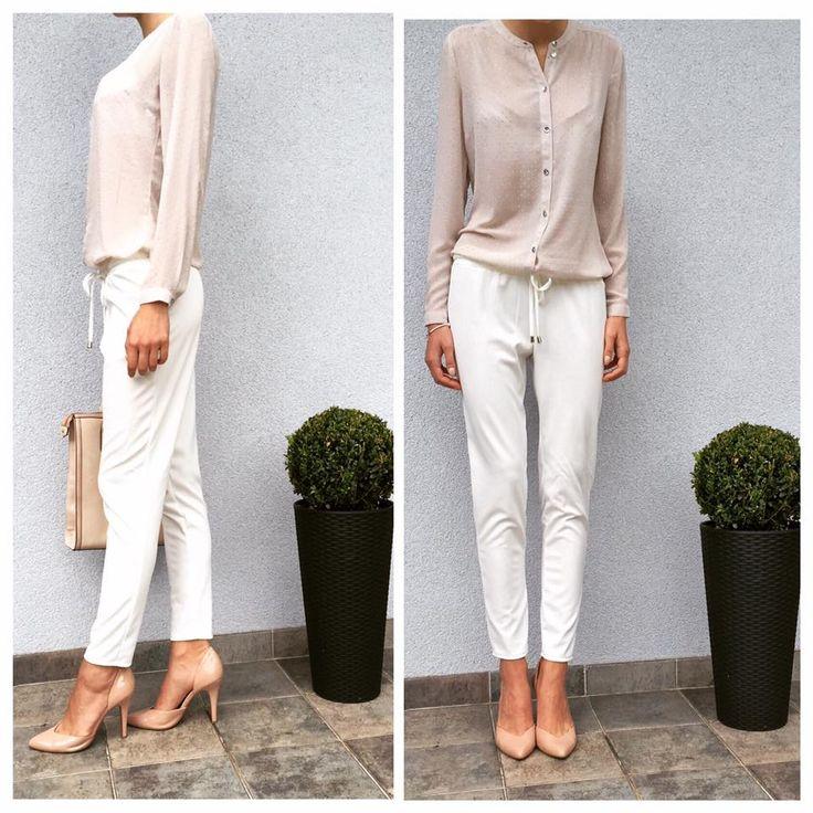 Spodnie FRANCE rozmiary: xs,s,m,l kolory: ecru, pudrowy róż cena: 139 PLN