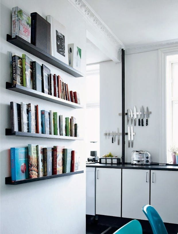 open shelves for cooking books