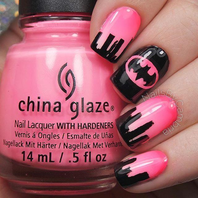 Pink Batman Nail Design Manicure