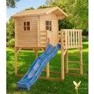 Woodinis Kinderspielhaus aus Holz auf Stelzen blaue Rutsche