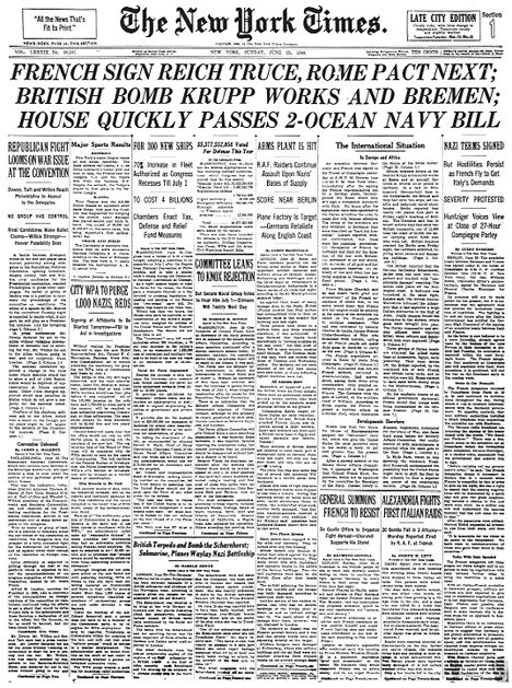 June 22, 1940, during World War II, Adolf Hitler gained a stunning victory as France was forced to sign an armistice eight days after German forces overran Paris.