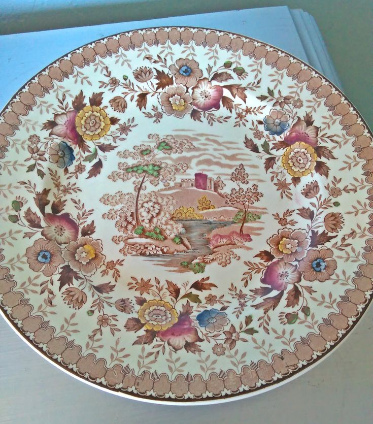 Vintage Ridgway Potteries Dinner Plate Woodland Brown Pattern/English China Ridgway Potteries Woodland Brown Dinner Plate Transferware