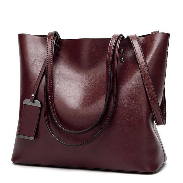 Women Oil Leather Tote Handbags Vintage Shoulder Bags Capacity Shopping Crossbody Bags