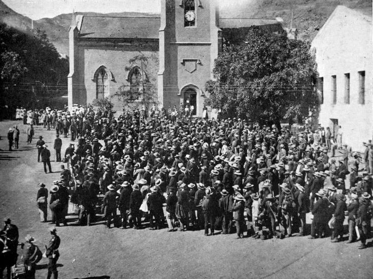 Boers on Parade in Jamestown being addressed by The Governor Saint Helena Island Info Boer Prisoners