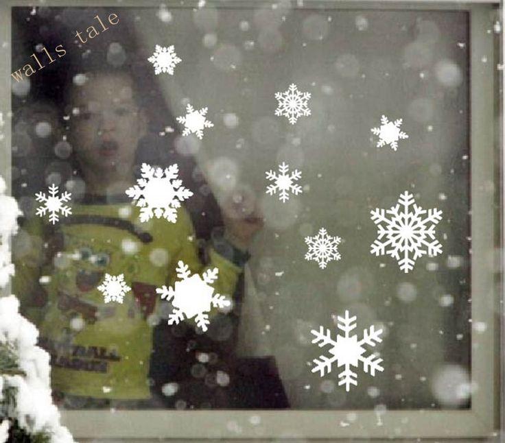 12 Винил Снежинка Переводные Картинки на Праздники Рождество Зима Украшения Для Windows, двери, стены, рождественский Декор Наклейки купить на AliExpress
