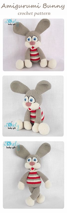 Crochet Pattern - Amigurumi bunny, striped bunny, rabbit https://www.etsy.com/listing/123688309/amigurumi-pattern-crochet-amigurumi-toy?ref=shop_home_active_7