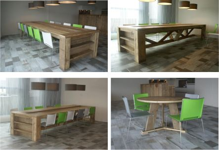"""custommade interior for dining room / canteen, design and production by: """"HANS"""" (www.hansknepper.nl) for the recreation room of REFLEX-SYSTEMS (NL), wood: steigerhout"""