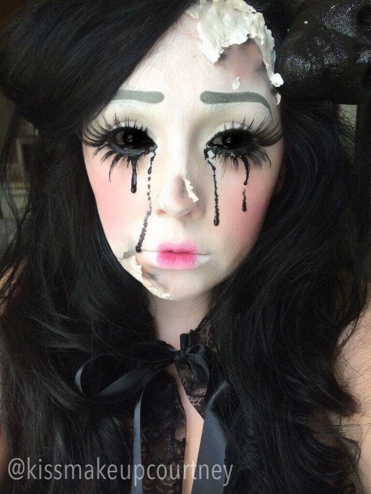 Broken Cracked Doll Makeup Halloween Hair And Makeup Maquillaje Doll Makeup Halloween Scary Doll Makeup Cracked Doll Makeup