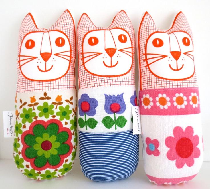 Original Scandinavian style 70s fabric handmade cat toy plush softie by Jane Foster. $32,00, via Etsy.