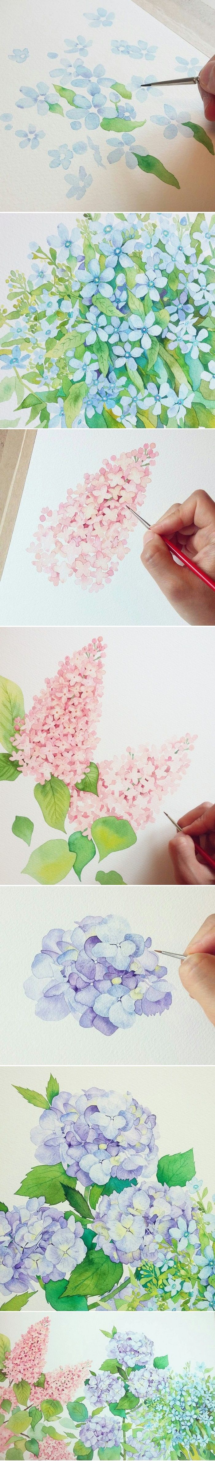 Pretty blue flower painting, pink flowers. This looks so easy!