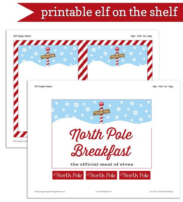 Free Printable Elf on the Shelf North Pole Breakfast Printable - by 505-design.com