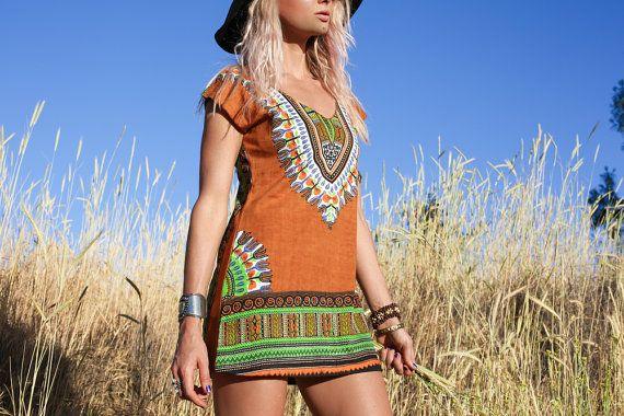 Sexy Tribal jurk Afrikaanse Print jurk tuniek door BlondeVagabond