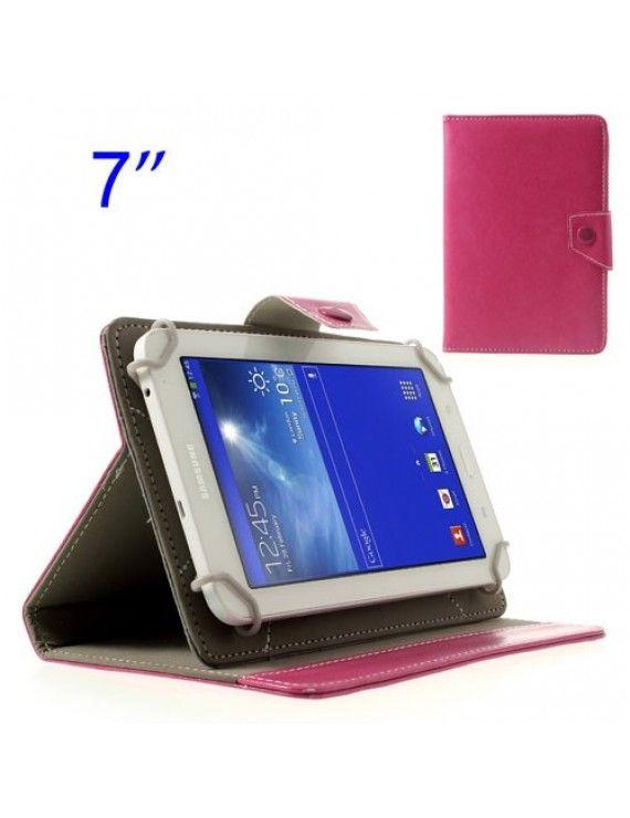 Universal Δερμάτινη Θήκη Βιβλίο με Βάση Στήριξης για Samsung Tab T110 T111 P3210 /Amazon Kindle Fire κ.λπ. Διαστάσεις: 12.5 x 19.5cm - Φούξια
