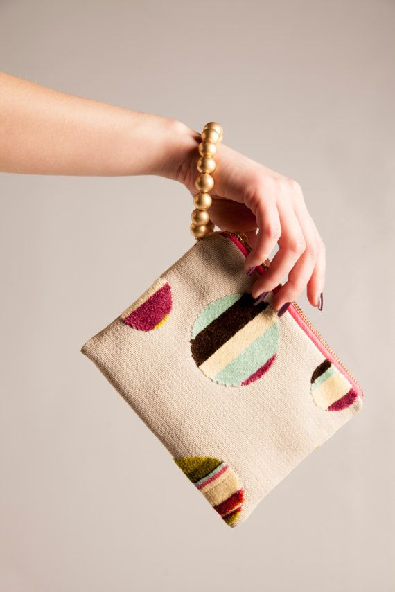 Wristlet bag one of a kind evening bag cotton by vquadroitaly, €40.00
