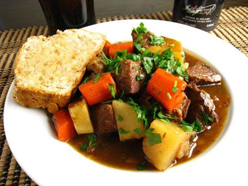 Irish Lamb Stew. Perfect for St. Patty's Day. Too bad I'll be having my regular dinner (salad, turkey breast and 1 corn tortilla).