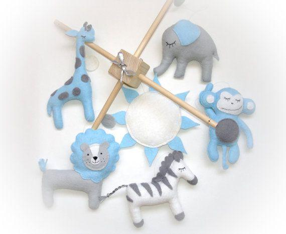Bébé mobile, mobile lit bébé, Mobile Safari, animaux mobile, mobile éléphant, lion, girafe, soleil, cadeau de douche de bébé