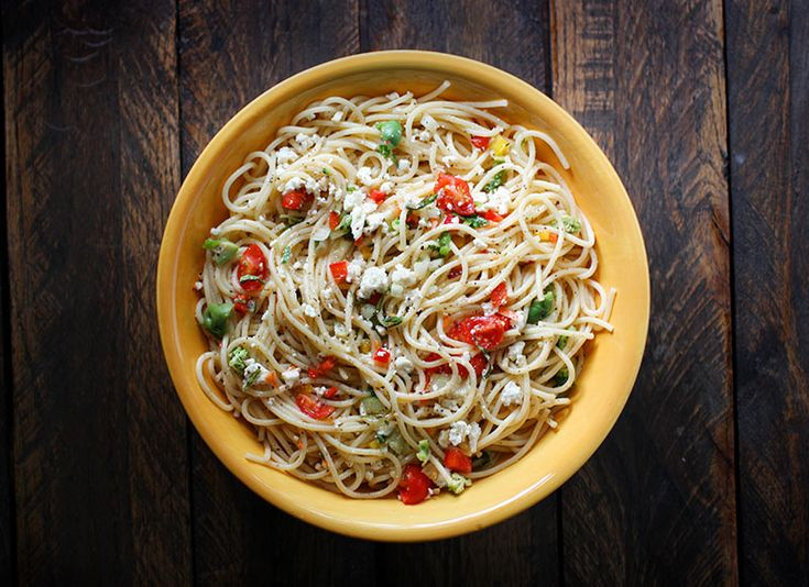 Chilled spaghetti salad - - hands down my favorite dinner this summer and fall. A great make-ahead meal, pasta lovers will not be able to get enough.