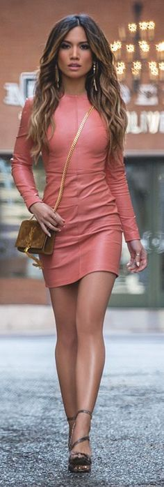 @roressclothes clothing ideas #women fashion Pink Leather Little Dress