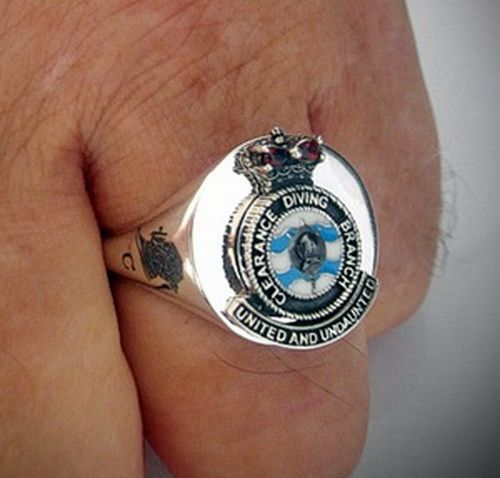 RAN Clearance Divers Branch Crest Ring Sterling Silver made by master craftsman Silversmith