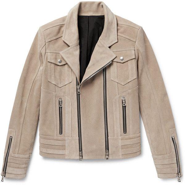 Balmain Suede Biker Jacket ($3,095) ❤ liked on Polyvore featuring men's fashion, men's clothing, men's outerwear, men's jackets, mens zip jacket, mens suede biker jacket, mens beige jacket, mens suede moto jacket and mens suede leather jacket
