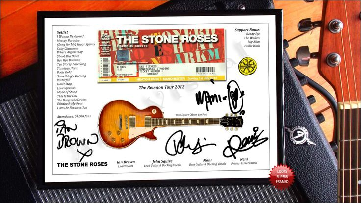 Ian Brown The Stone Roses Heaton Park Manchester 2012 Concert Ticket Signed Photo Print