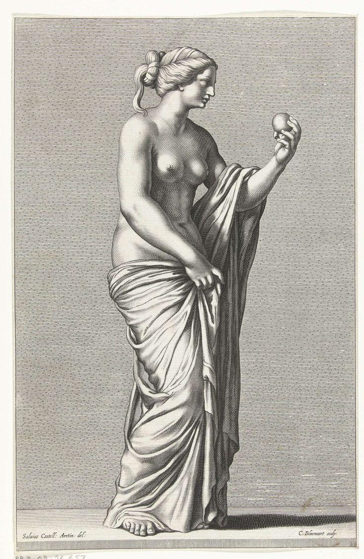 Cornelis Bloemaert (II) | Venus, Cornelis Bloemaert (II), 1633 - 1692 | Beeld van Venus, godin van de liefde. Ze houdt een vrucht in haar hand.