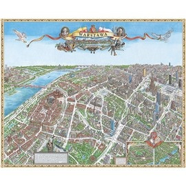 """Panoramic Map of Warsaw, POLAND.   Product #: TOP600. Hundreds of hours, thousands of photographs, countless sketches resulted in very detailes and accurate map of Warsaw as it is today. You can count windows in Kings Castle, check the Cathedral architecture and you will see how accurate work was done. Hand drawn maps by master artist Ruben Atoyan. Beautifully printed in Poland on heavy stock. Size approx. 26"""" High x 38"""" Wide."""