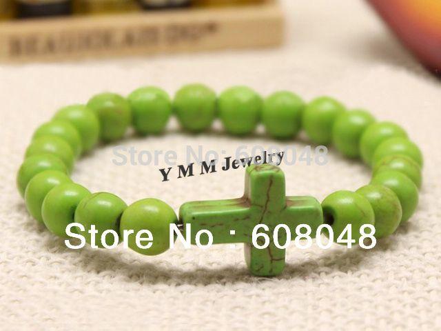 Wholesale 12pcs Green Turquoise Sideway Cross Bracelets Fit Promotion