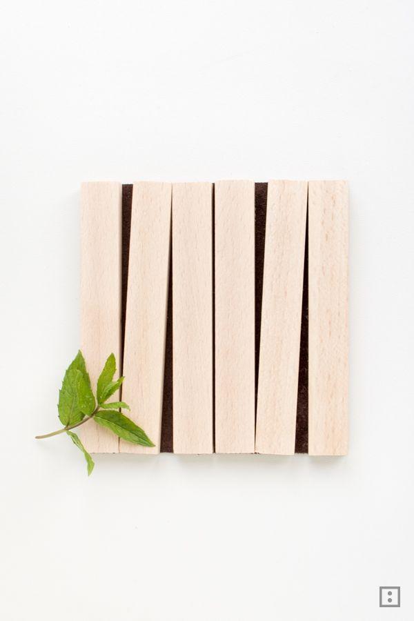Untersetzer: Holz + Leder