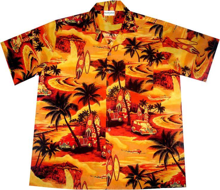 "hawaiian shirt ""Golden Summer (poly)"" / Original by Hawaiihemd.net / 100% polyester / coconut buttons / with breast pocket"