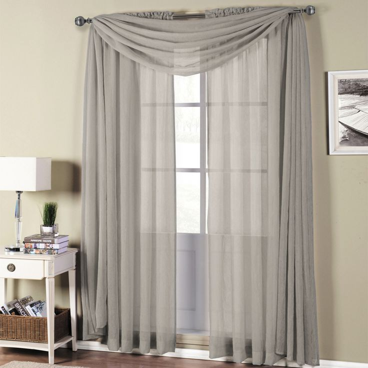 Abri Grey Rod Pocket Crushed Sheer Curtain Panel Loft