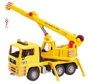 Bruder MAN Crane Truck  This crane is constructed out of fade-resistant, high-quality ABS plastic, with no glue or screws. This German made product is as tough as its heavier metal competitors. http://bit.ly/1ECAVOd