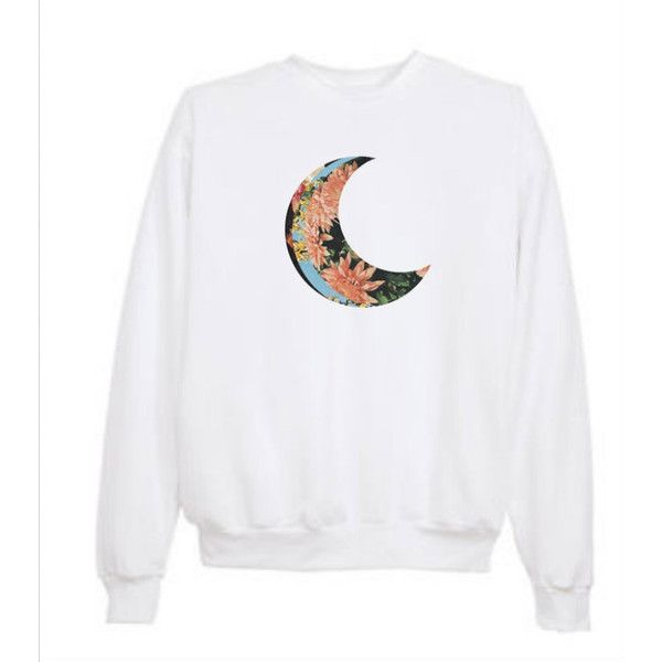 Tumblr Transparent Crescent Floral Moon Sweatshirt ($21) ❤ liked on Polyvore featuring tops, hoodies, sweatshirts, sweaters, shirts, long sleeves, longsleeve shirt, sweat shirts, floral print long sleeve shirt and sheer long sleeve top