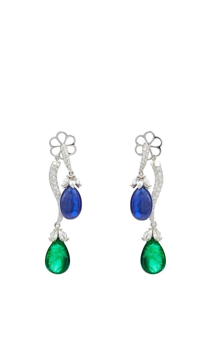Giovane, Italy ~ Zambian emerald and natural blue sapphire earrings, feature 25.13cts of Zambian emeralds, 24.81cts natural blue sapphires and 2.79cts of round diamonds, in 18k white gold.