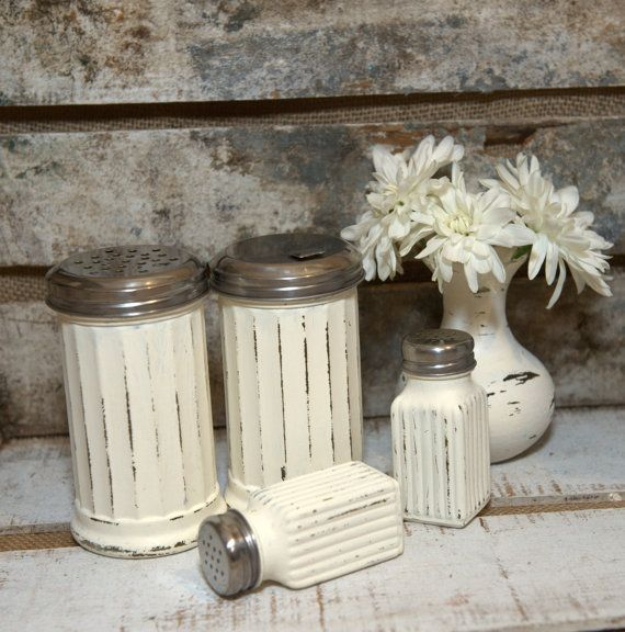 vintage/distressed Salt and pepper shaker. AND coffee cream holder too.