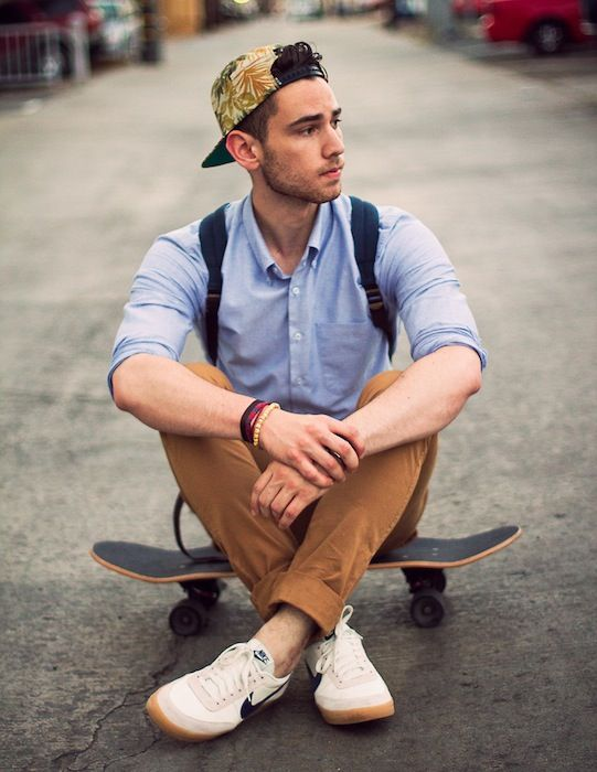 Skater street-style | senior guy pose, or for anyone into skating or longboarding.
