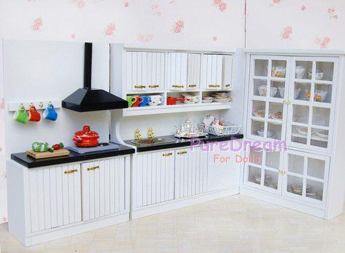 Dollhouse Miniature Kitchen Dining Furniture Set Cabinet w Basin Ventilator   eBay Check out: missdollhouse.com
