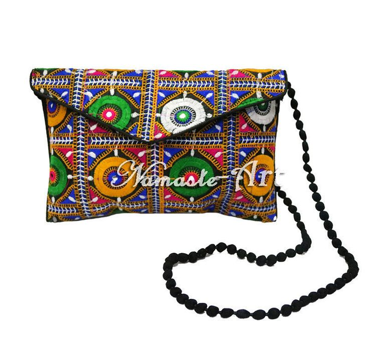Indian Cotton Beautiful Handmade Mirror Work Floral Design Embroidery Clutch Bag #Unbranded #Clutch