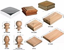 Looking for wood newel caps then take a look at our wide range of  caps e.g ball, acorn, flat, pyramid, mushroom etc. These come in 70mm, 83mm, 89mm, 85mm & 120mm. If you haven't got a standard newel post then let us quote you for a bespoke service