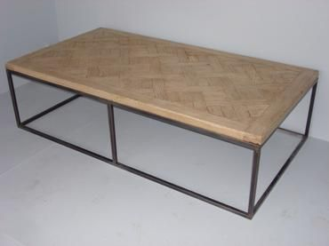Antique French Wood Floor Parquet Top Coffee Table On New Metal Base Limited Quantites Available Due