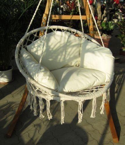 Luxe Houten Design Hangstoel Schommelstoel Tuin Stoel Crème