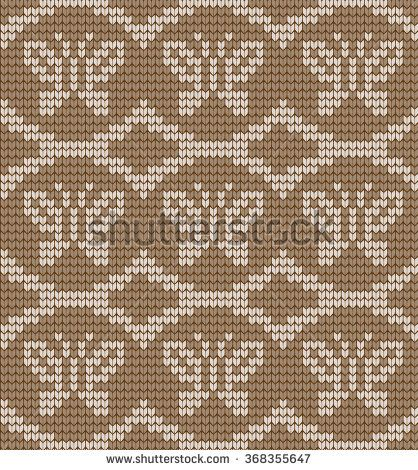 Vector knitted pattern with butterflies
