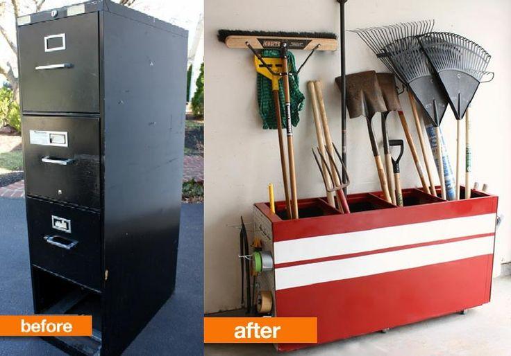 récupération d'un vieux casier métal à tiroir pour porte outils de jardin