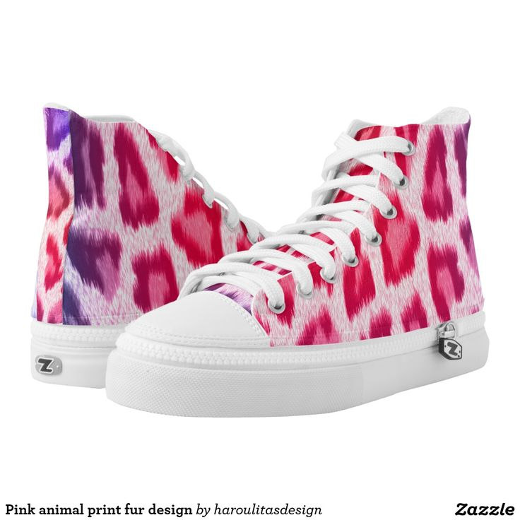 Pink animal print fur design printed shoes