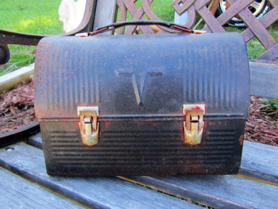 Thermos lunch box/handbag / Vintage / Industrial / Storage