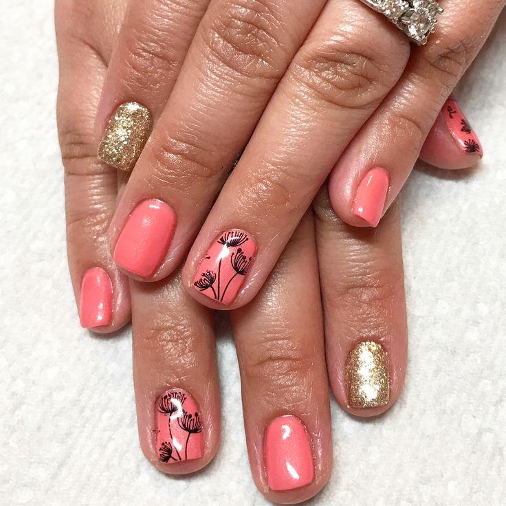 Flower nails. Coral nails gold nails. Glitter nails. Dandelion nails. Summer nails. Gel nails.