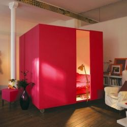 The Mobile Bed Cube Is A Great Way To Bring Privacy To An Open Space. #dwellinggawker: Small Apartments, Beds, Small Bedrooms, Interiors Design Kitchens, Bedrooms Design, Cool Ideas, Studios Apartments, Open Plan, Studios Apt
