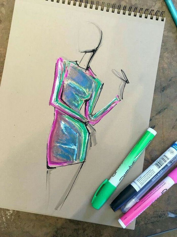 Things To Draw With Markers : things, markers, Black-white-sketch-woman's-body-metallic-colourful-dress-what-to-draw, -when-bored-colourful-markers, Drawings,, Womens, Painting