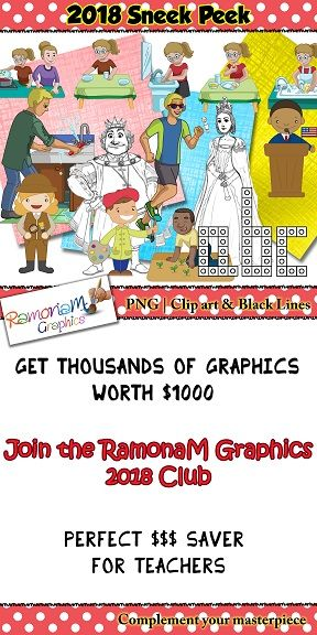 12 months worth of teacher clip art for 1 very low price. Members contribute with what sets go in the pack, click to find out more :)