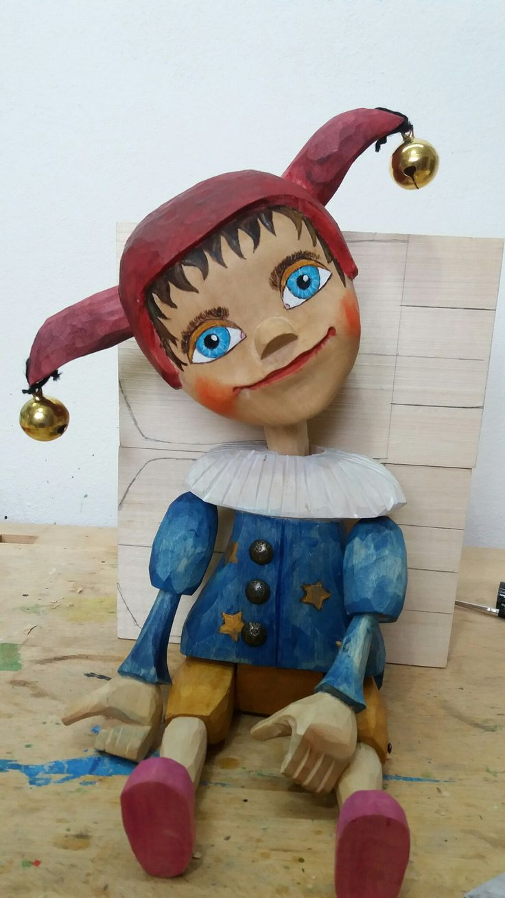 Puppet jester wood carving, was born 2017